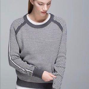 Lululemon devi crew striped sweater sz 4 EUC